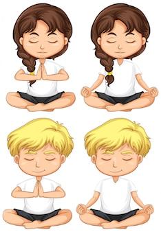 Set von kleinen kindern zu meditieren