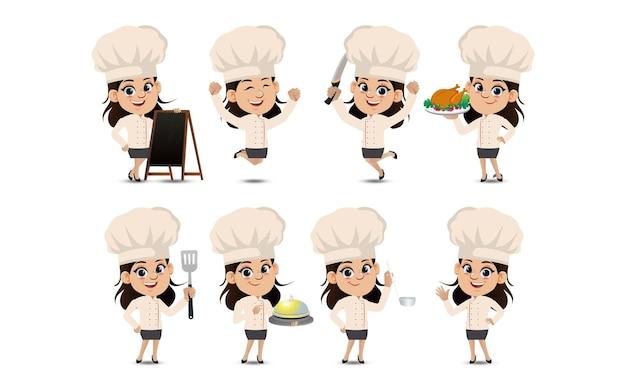 Set von kochfiguren in verschiedenen posen