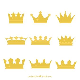 Set von königskronen mit flachem design