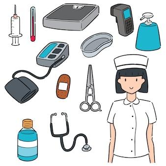 Set von krankenschwester und medizinischer ausrüstung