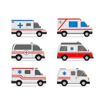 Set von krankenwagen