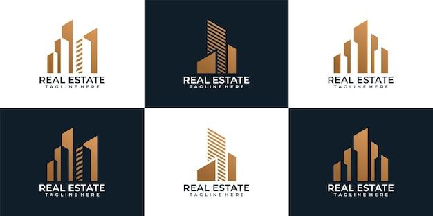 Set von kreativen luxusbau-immobilien-logo-element-industrieunternehmen