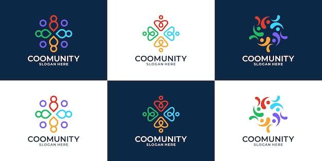 Set von kreativen menschenfamilie und logosammlung der menschlichen einheit