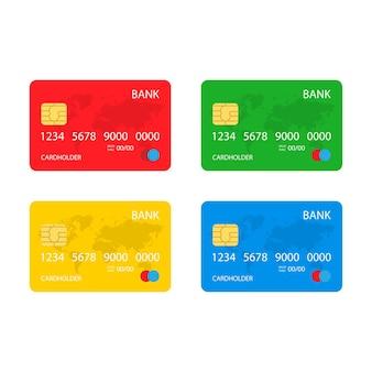 Set von kredit-plastik-bankkarten in rot, grün, gelb und blau. vektorillustration auf lager eps10