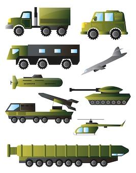 Set von kriegsmaschinen, panzern und ausrüstung in grünen farben