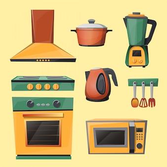 Set von küchengeräten - mikrowelle, wasserkocher, mixer, mixer, herd