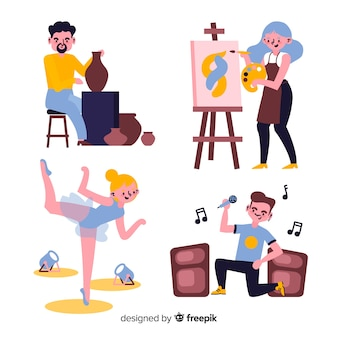 Set von künstlern aus verschiedenen disziplinen. maler, tänzer, handwerker und sänger
