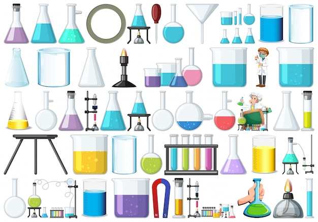 Set von laborgeräten