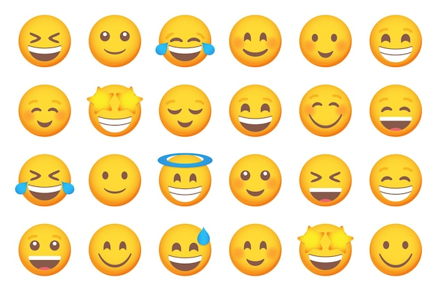 Set von lächelnden emoticon-lächeln-symbolen. cartoon-emoji-set. vektor-emoticon-set