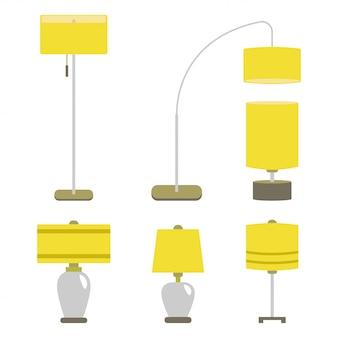 Set von lampen. lokalisierte elektrische innenenergiemöbel der vektorillustrationslampe licht.