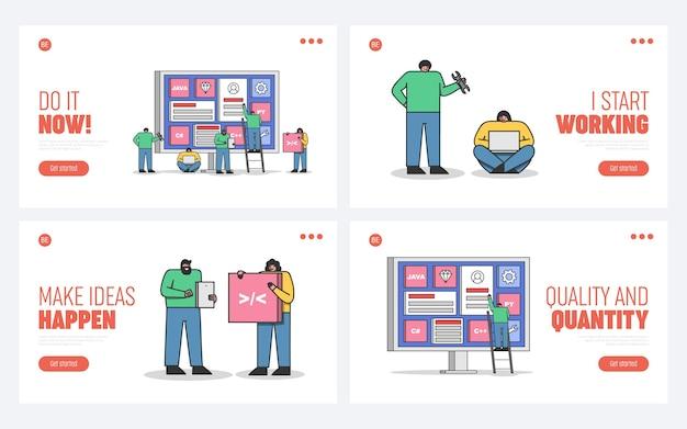 Set von landing pages für webentwicklung, codierung und programmierung von websites und mobilen anwendungen mit cartoon-programmierern und entwicklerteam