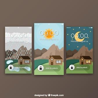 Set von landschaft wallpaper mit haus für handy