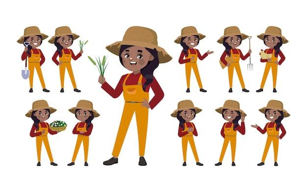 Set von landwirt mit unterschiedlicher pose