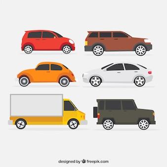 Set von lastwagen und andere fahrzeuge