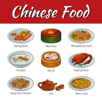 Set von lebensmitteln der chinesischen