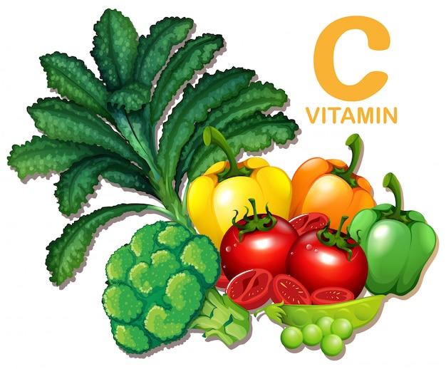 Set von lebensmitteln mit vitamin c