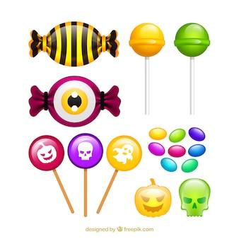 Set von leckeren bonbons und halloween lutscher