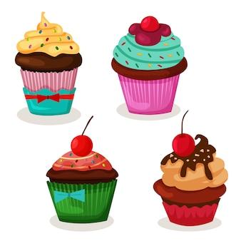 Set von leckeren cupcake