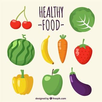 Set von leckeren früchten und gemüse