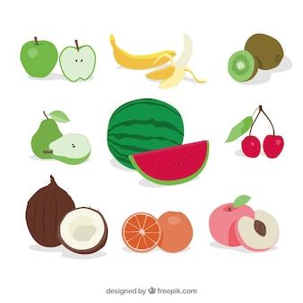 Set von leckeren früchten