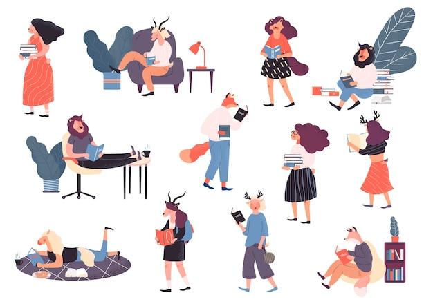Set von lesern, buchliebhabern, modernen literaturfans. karikatur auf weißem hintergrund.