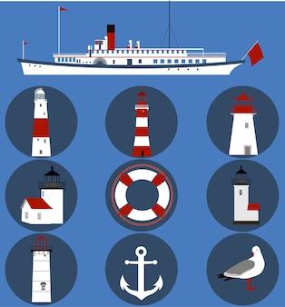 Set von leuchttürmen und schiff.