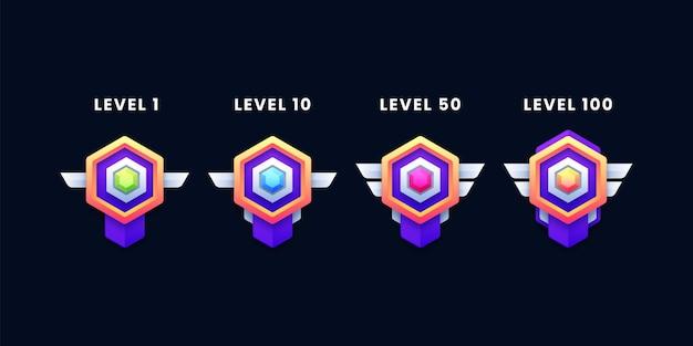 Set von level-abzeichen-symbolen