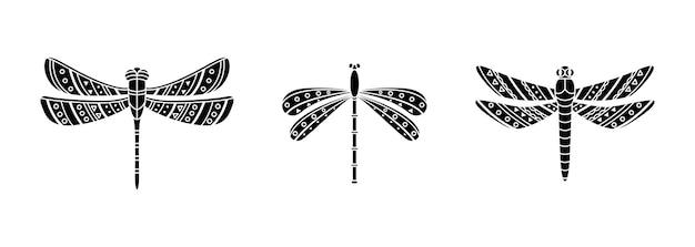 Set von libellen im boho-stil. geometrische stammesillustration in einem einfachen stil.