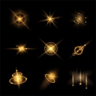 Set von lichteffekten vektor-illustration