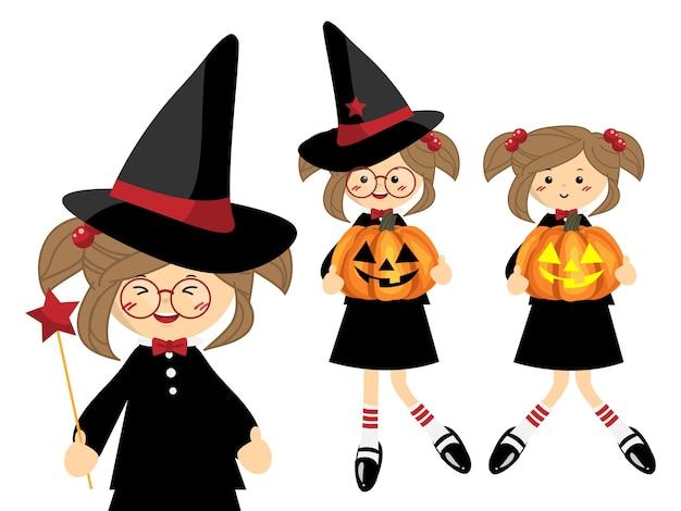 Set von little halloween hexe.