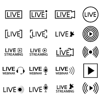 Set von live-streaming-symbolen schwarze umrisssymbole und schaltflächen für live-streaming-übertragungen