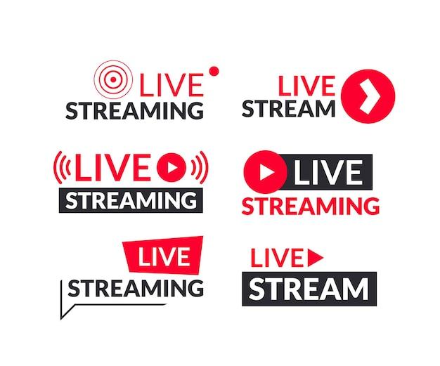 Set von live-streaming- und live-webinar-schildern und -logos
