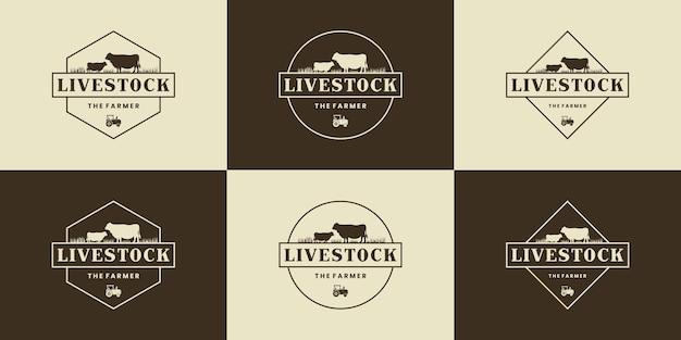 Set von logo-design für die viehzucht.