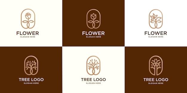 Set von logo-design-vorlagen und monogramm-konzepten im trendigen linearen stil