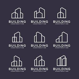 Set von logo-designs für den bau. baulogo-design mit strichzeichnungen.