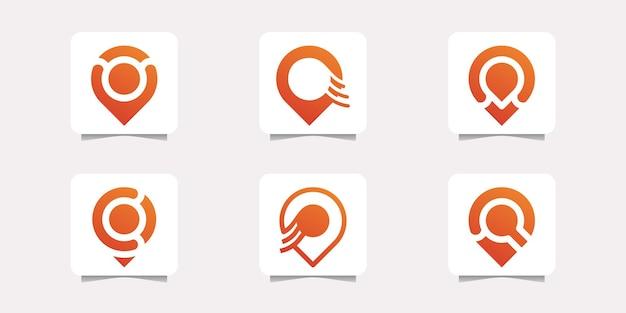 Set von logo-pin-point-standort-design premium-vektor