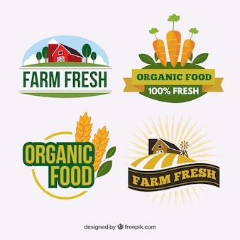 Set von logos für bio-lebensmittel-unternehmen