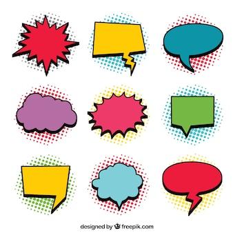 Set von logos im comic-stil
