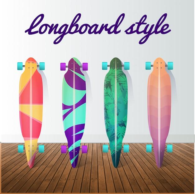 Set von longboard-skateboards