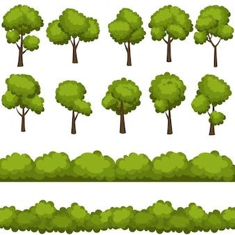 Set von lustigen comic-bäume und grüne büsche