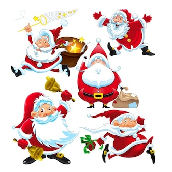 Set von lustigen weihnachtsmann vektor isoliert zeichen