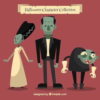 Set von lustigen zombies im vintage-stil