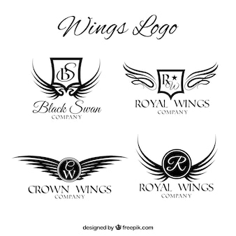 Set von luxuriösen flügel logos