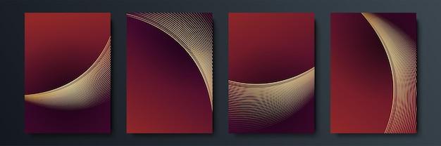 Set von luxuriösen geometrischen cover-designs oder grußkartenvorlagen mit goldenen glänzenden elementen auf rotem hintergrund. anzug für social-media-posts, mobile apps, banner-design und web- oder internet-anzeigen