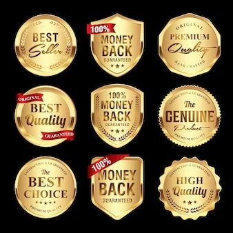 Set von luxuriösen goldabzeichen qualitätsetiketten