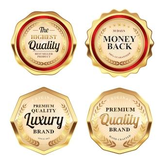 Set von luxuriösen roten und goldenen abzeichen von höchster qualität, premium-qualität und etiketten mit geld-zurück-garantie