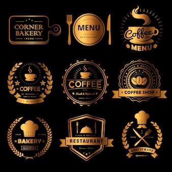 Set von luxus-etiketten für speisen und getränke