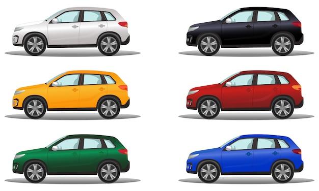 Set von luxus-geländefahrzeugen in sechs verschiedenen farben