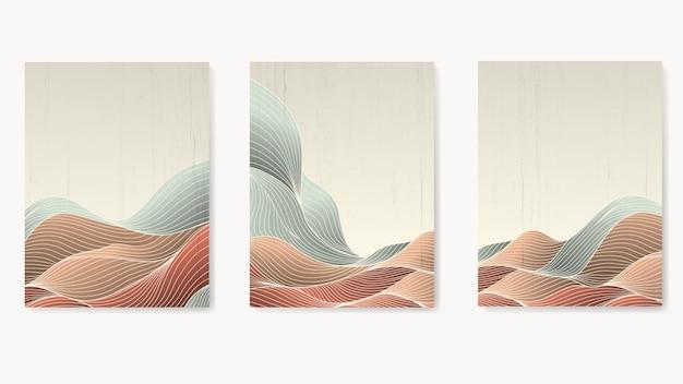 Set von luxuspostern für die inneneinrichtung mit abstrakten wellen aus linien in pastellfarben.