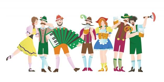 Set von männern und frauen beim oktoberfest. charaktere in trachten. illustration für restaurant- oder barmenü, auf weiß.